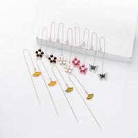 Colorful Flowers Ear Lines Imitation Pearls Ginkgo Leaf Drop Earrings Butterfly For Women Fashion Jewelry Drop Shipping in box