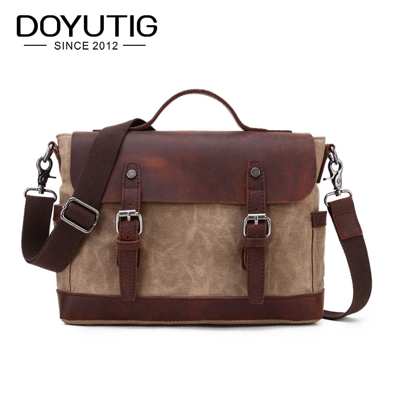 High Quality Canvas Handbag For Men & Female Crazy Horse Leather Casual Crossbody Bags For School New Shoulder Bags G034High Quality Canvas Handbag For Men & Female Crazy Horse Leather Casual Crossbody Bags For School New Shoulder Bags G034