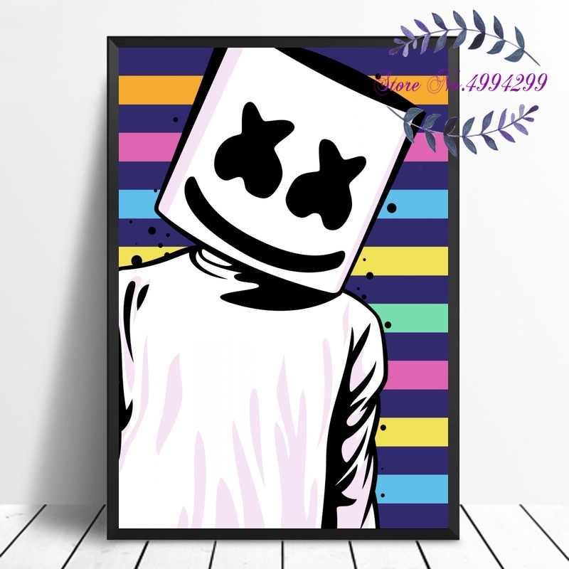 Marshmello música de DJ, cartel de estrella en lienzo, imágenes impresas, decoración para el hogar, sin marco