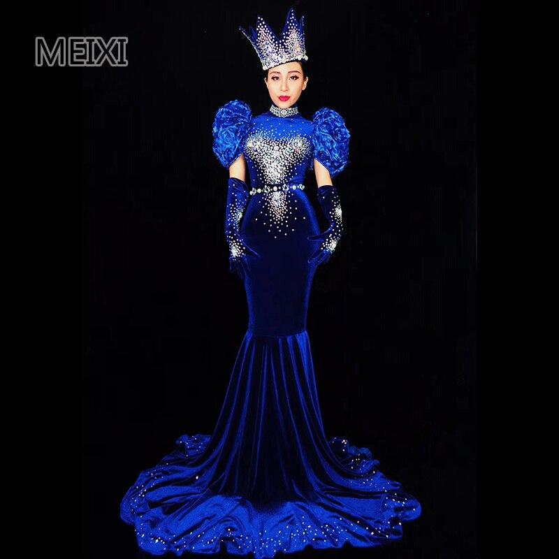 Detail Feedback Questions about Atmospheric blue velvet rhinestone dress  bar concert female dancer costumes on Aliexpress.com  1b7b7c8c997c