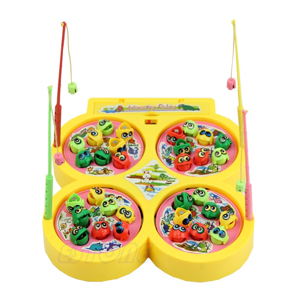 Go Fishing Game Electric Rotating Magnetic Magnet Fish Toy Kid Educational Toys
