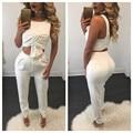 Novo 2016 Outono Mulheres Elegantes Macacão Macacão Sem Mangas de Duas Peças Macacão Branco Longo Bodysuit Sexy Bodycon Playsuit Macacão