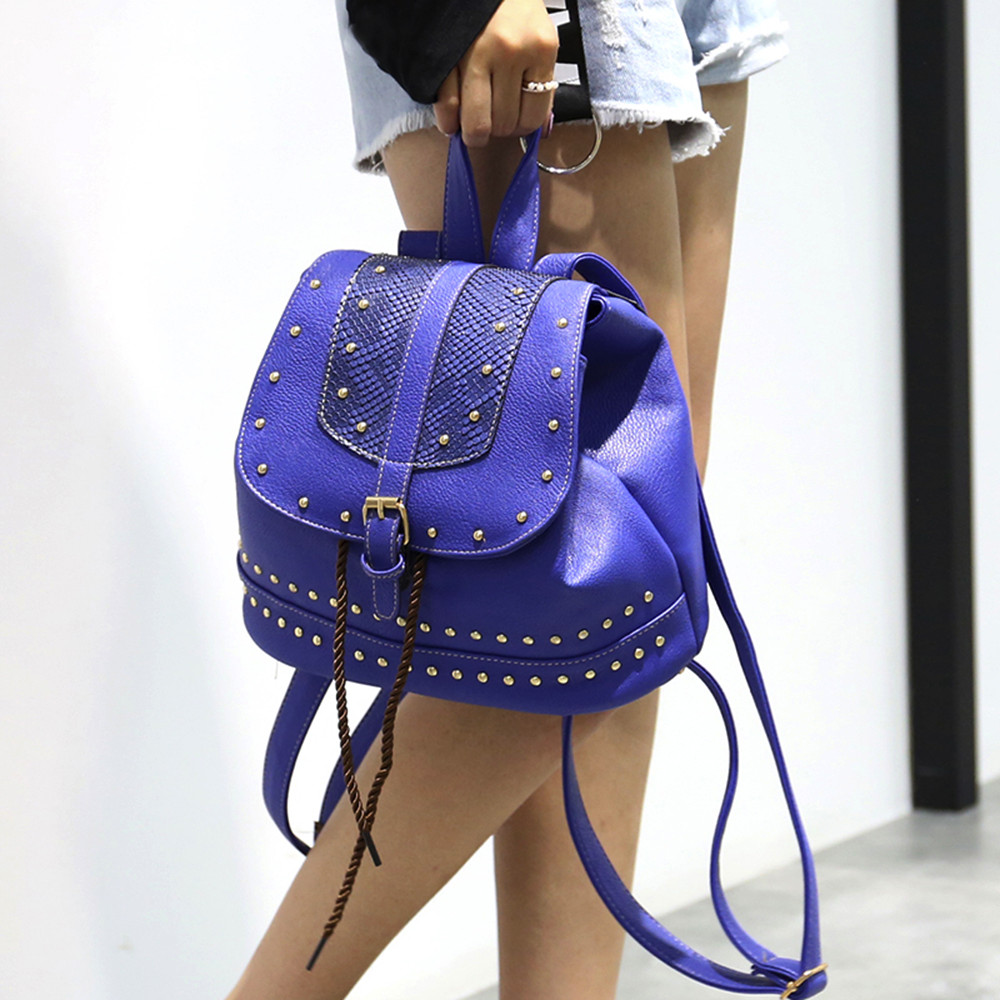 Fashion Women Vintage Backpack Rivet Decoration Rucksack Drawstring School Bag JUNE1 ...