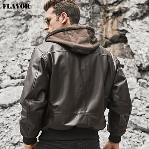 Image 4 - FLAVOR Mens Real Leather Bomber Jacket Men Lambskin Genuine Leather Jacket Pilot Air Force Removable Hood Warm Aviator Coat