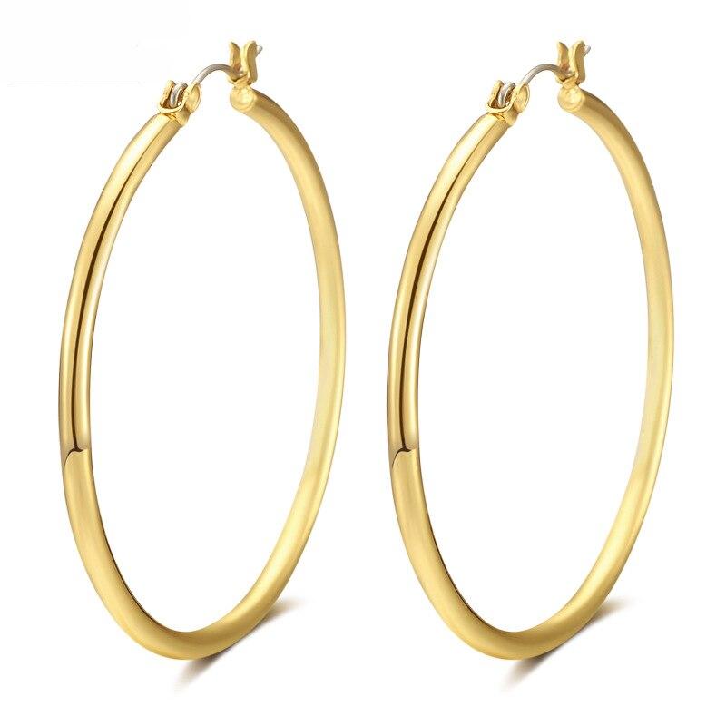 Hot Sale Hoop Earrings Big Smooth Circle Earrings Basketball Brincos Big Brand Loop Earrings for Women Jewelry Wholesale