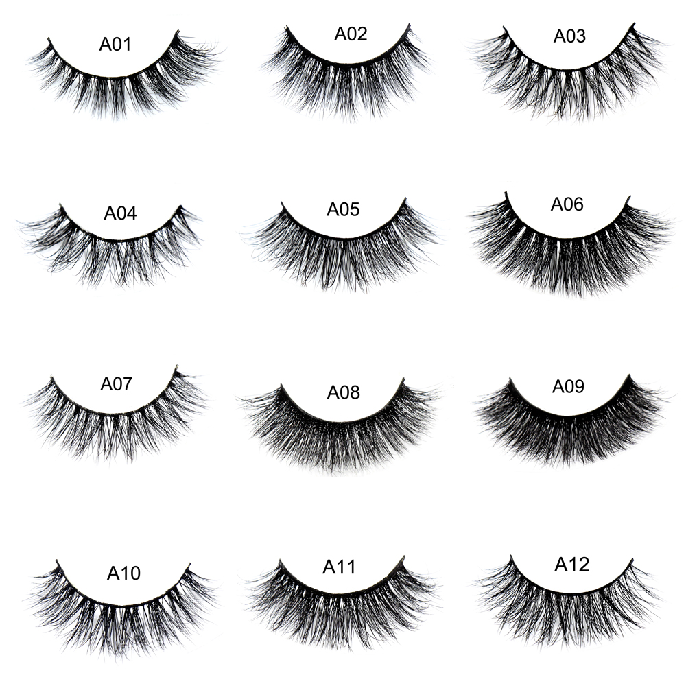 False eyelash 3D Mink Eyelashes Cruelty Free Natural Extension Long Cross Thick Mink Lashes Handmade Eye Lashes 34 style A01-A22
