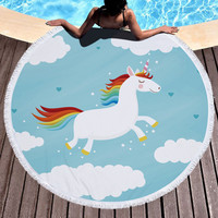 Blue Cute Unicorn Microfiber Large Round Beach Towel Toalla Microfibra Thick Terry Cloth Tassel Beach Blanket Serviette De Plage