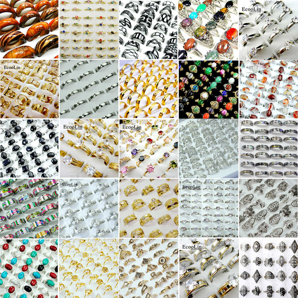 50Pcs /Lot Women Rings Lots Fashion Female Jewelry Wholesale Jewelry Accessories Store Bulks Packs Multiple Styles