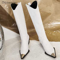 Stylesowner Metal Square Toe Knee High Boots Genuine Leather Brand Design Fashion High Heel Botas Mujer Chunky Heel Zapatos Chic