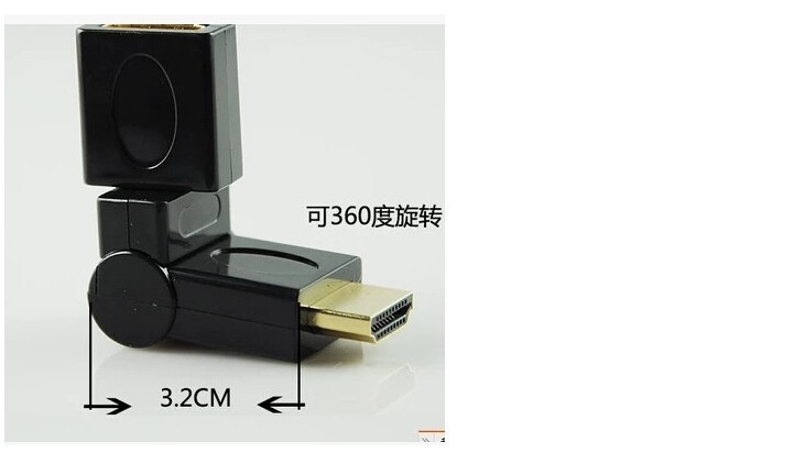 HDMI male to HDMI female elbow 90 degrees and 270 degrees L-shaped adapter 180 degrees 360 degree rotation Version 1.4