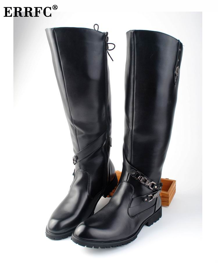 ERRFC New Arrival Black Long Knee Boots Men Round Toe Buckle High Top Casual PU leather