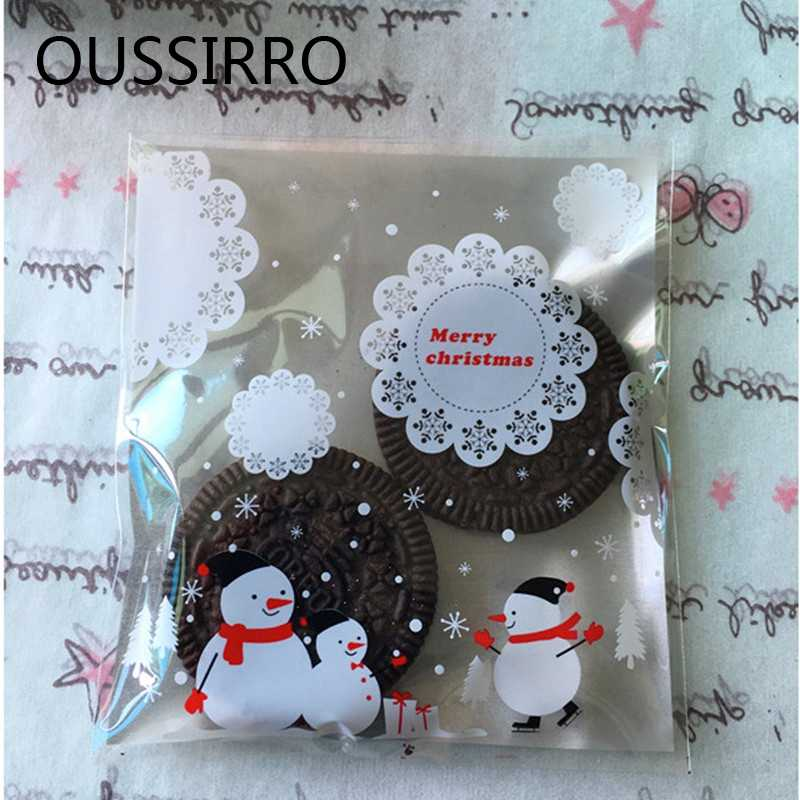 25PCS/Lot Christmas Gifts Bag Silver Lace Snowflake Snowman  Navidad Bake Cookies Biscuit Christmas Bag New Year Gifts