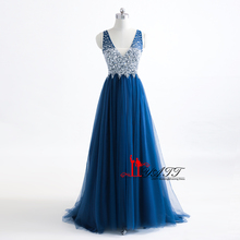 f9c85f7a581 Peacock Blue Evening Dresses Sexy Deep V-neck Long Charming Crystal Beading  Pleat Tulle Backless