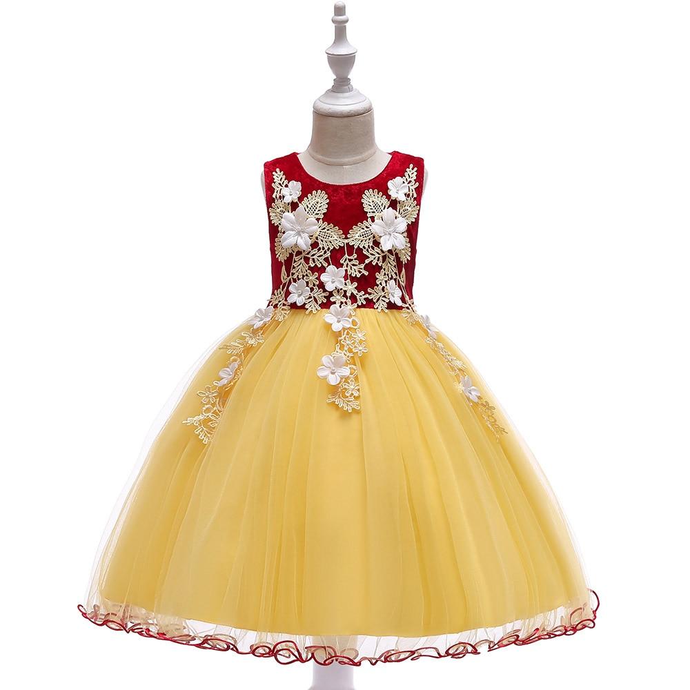 Детское свадебное вечернее платье для девочек вельветовые платья с аппликацией для маленьких девочек детское праздничное платье принцесс...