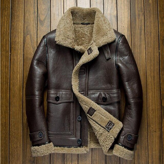 Männer winter pelz lederbekleidung männlichen echtem schaffell scheren air  force flight anzug jacke motorrad dicken mantel 0a5ecfa337