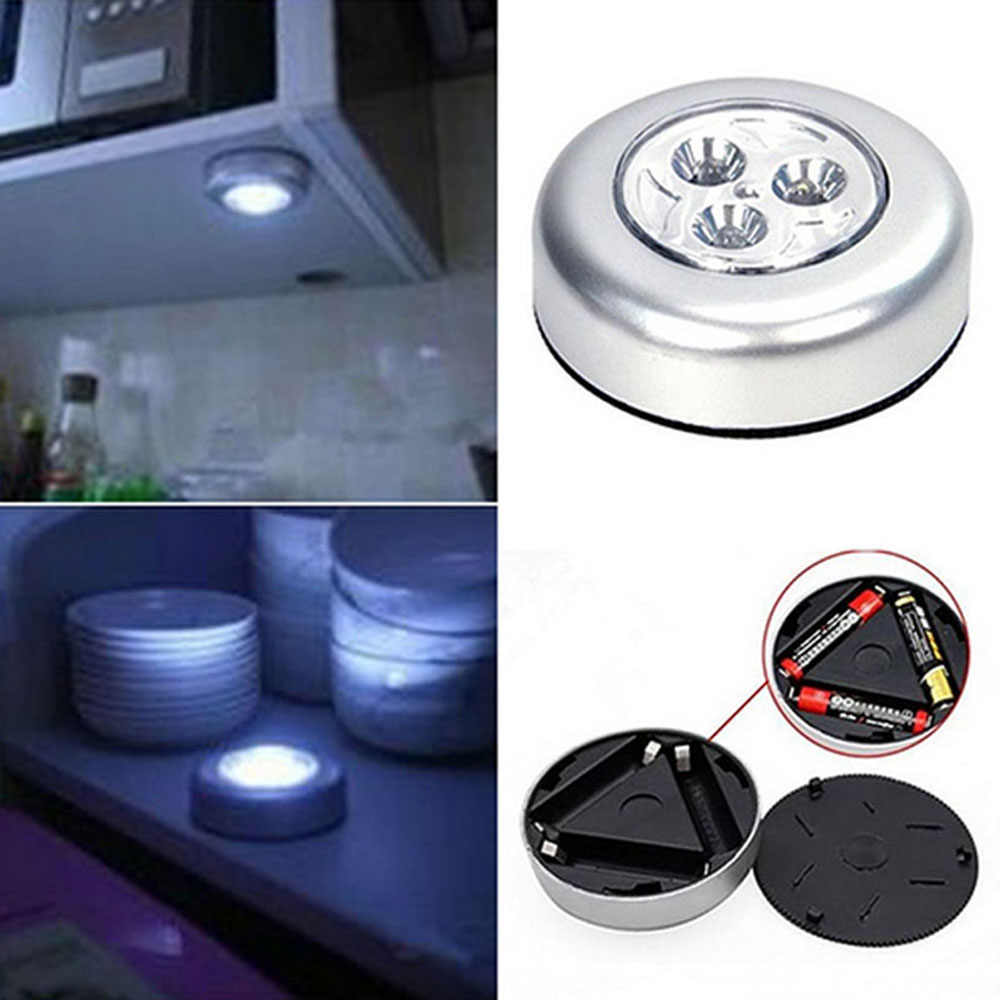 Emergency Mini Wall Light Car Kitchen Cabinet Closet Car 3 LED Wireless Push Touch Lamp Wall Lamps free shipping