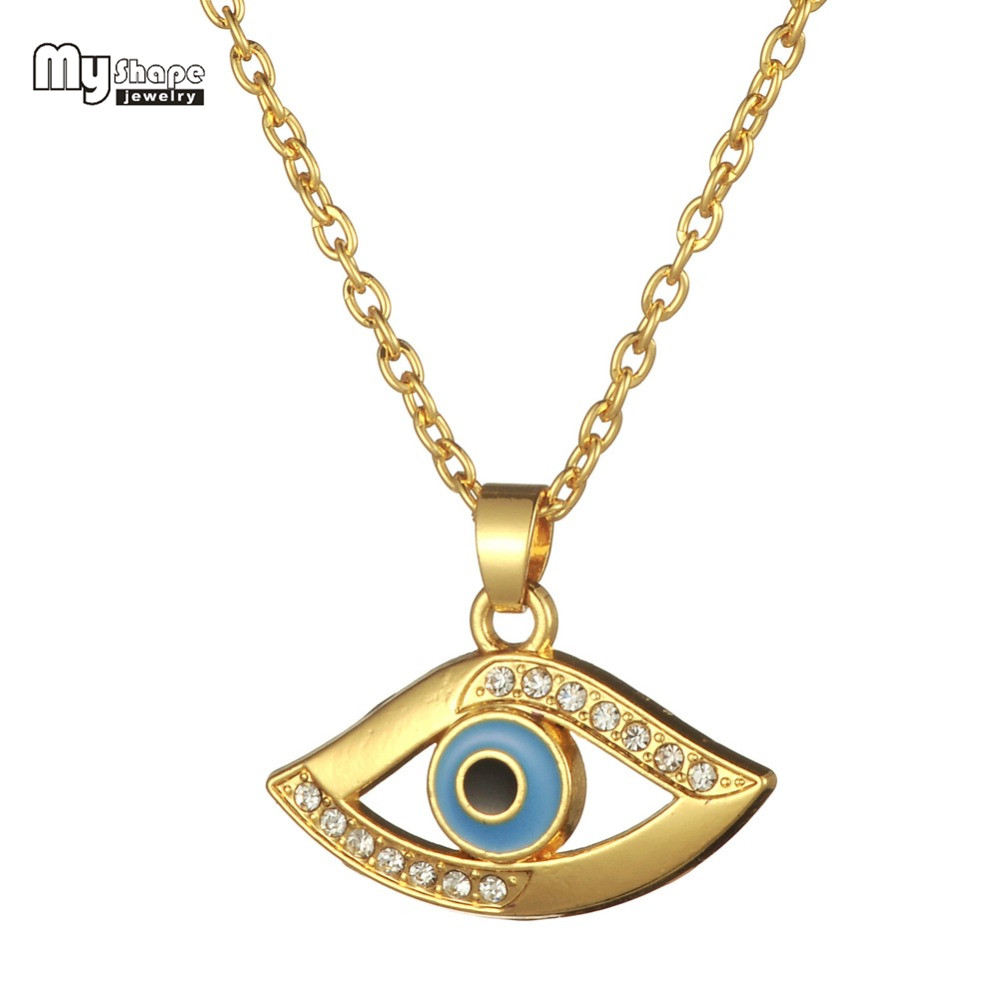 Industrious My Shape Evil Eye Pendant Necklace Gold Color Pave White Crystal Stons With Light Blue And Black Enamel Fashion Jewelry Chain Necklaces Jewelry & Accessories