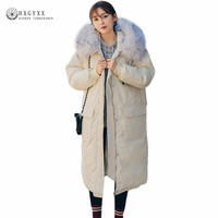 2017 New Winter Hooded Parka Women Big Fur Collar Wadded Jacket Female Outerwear Long Loose Plus