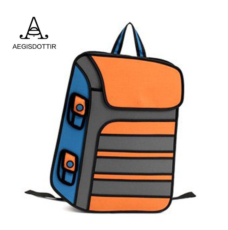 3D Jump Style 2D Drawing Cartoon Paper Bag Comic Backpack Fashion Cute Student School Bags Mochila Feminina Sac Rucksack Women