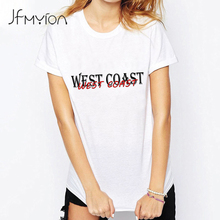 Punk Rock Cool White Tops Summer Women Short Sleeve O Neck West Coast Printed Letter T shirt Oversized Hip Hop Tees Female Shirt