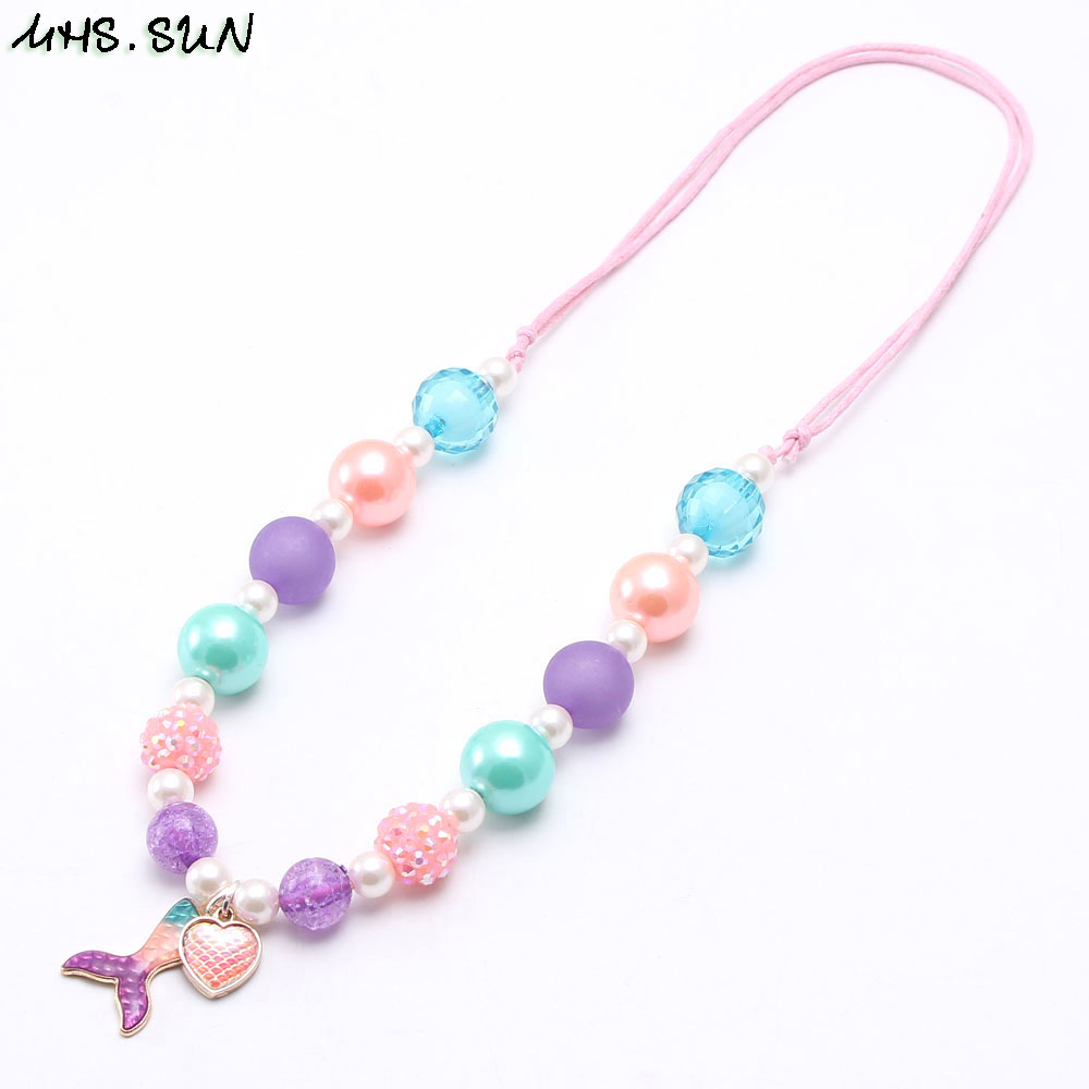 MHS.SUN Baby Girls Beads Necklace Fashion Mermaid Tail Pendant Child Kids Adjustable Rope Necklce Charm Chunky Jewelry For Gift