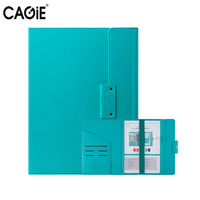 CAGIE Office School Supplies Filing Product File Folder Pu Leather Candy Colors A4 Document Organizer Paper