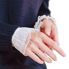 Женские декоративные шифоновые накладные расклешенные рукава, цветочные кружевные плиссированные с рюшами, накладные манжеты, одежда для запястья с четырьмя пуговицами