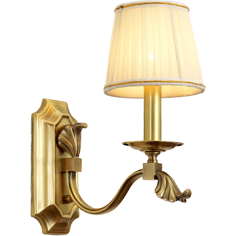 все цены на Toolery American Style Copper LED Wall Light Bedroom Bedside Lamp Indoor Gold wall lamp for Living Room Hotel home decoration