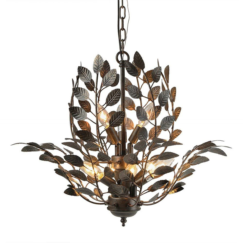 nordic retro Leaves pendant lights glass shade hanging for living room bedroom hotel loft suspension luminaire fixture