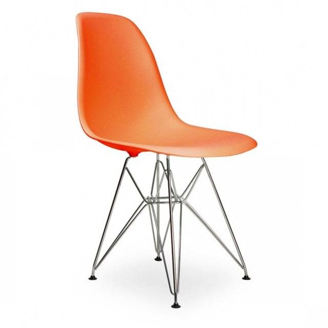 4 Stücke Für Viele PP Kunststoff Seite Stühle Für Wohnzimmer Original Design  Stahl Beine Orange