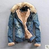 Free Shipping 2014 New Winter Men Clothing Jean Coat Outwear Fur Collar Denim Jacket Winter Men