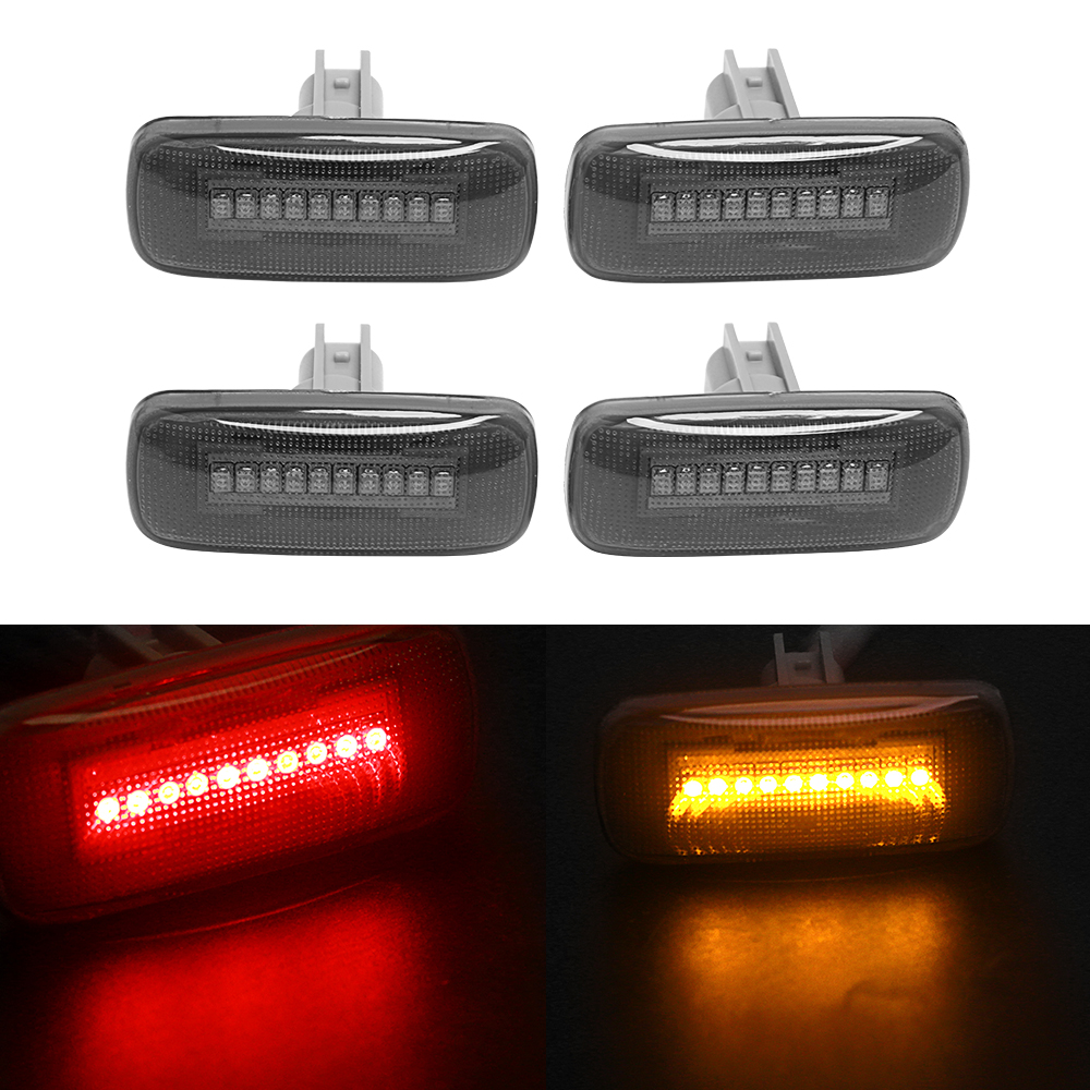 New 4pcs 10LED Lamp Side Marker Lights For 2010-2014 Dodge Ram Dually Cab Bed Smoke Fender (Red+Amber)