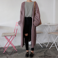 Korean Womens Cardigan Long Sleeve Autumn Winter Knitted Sweaters Fashion 2018 Women Loose Long Cardigan Coat Female Cardigans