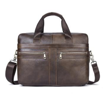 Genuine Leather Men Bags Briefcases Men's Messenger Bag Cowhide Leather Laptop Crossbody Handbag Male Business Bag Men's Backpacks