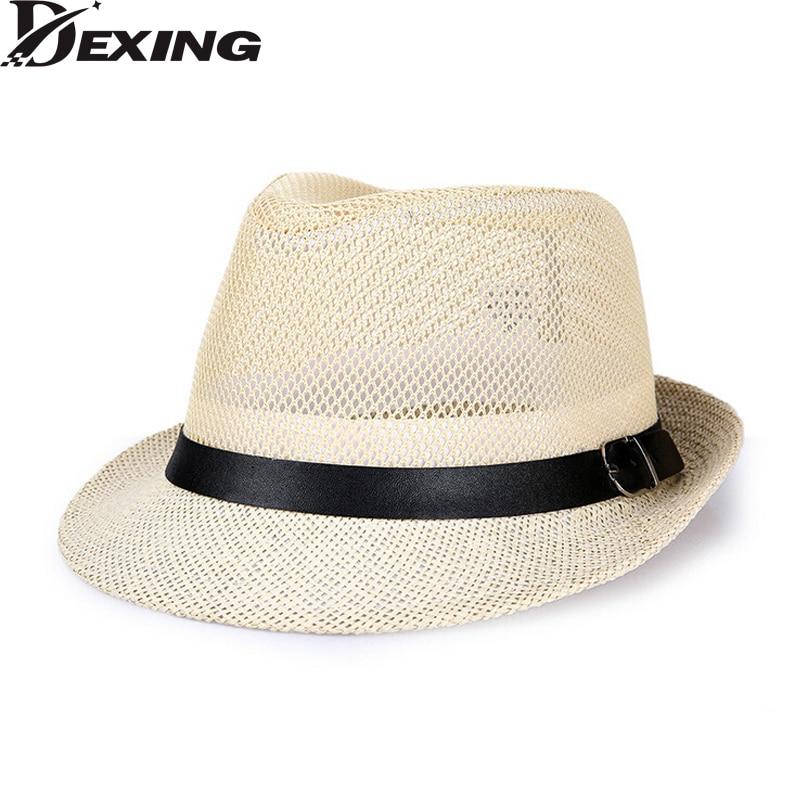 714b5a456cfbe  Dexing  Summer Beach Sun hats sunscreen Straw Hat Men Women Panama Mesh  belt top Caps Jazz Fedora Hat 60cm big size