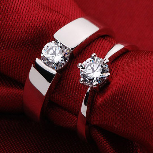 100% Real 925 Sterling Silver Cubic Zircon Rings For Lovers Couples Wedding Engagement Women Men Luxury Jewelry