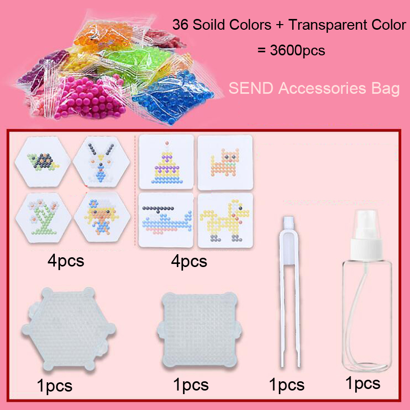DOLLRYGA Magical Beads Solid Beads Refill Pack Water Sticky Beads Pegboard Set Bead Puzzle Toys For Children 36Colors 3600 PCS