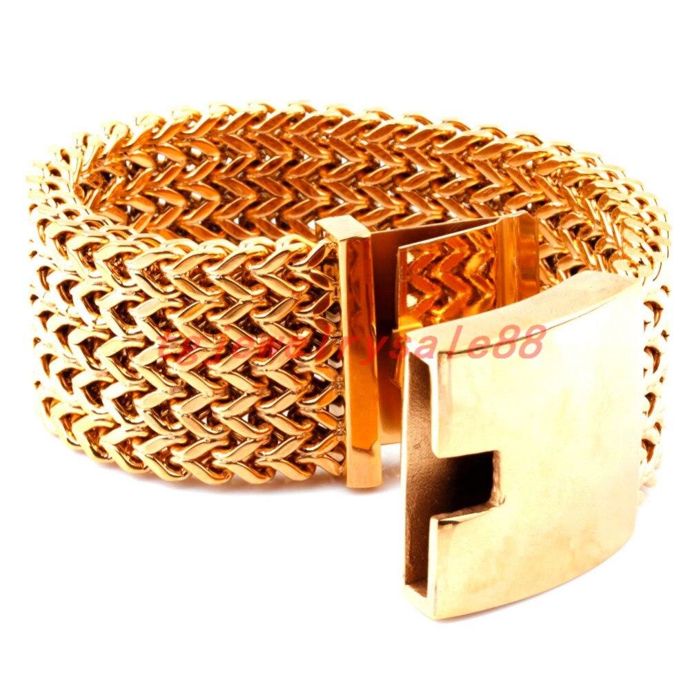 Réussi personne Perdect couleur or 30mm de large lourd énorme en acier inoxydable Figaro Rolo chaîne Bracelet Bracelet manchette bijoux 8.66