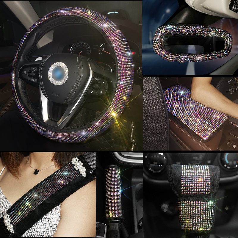 Luxury Rhinestones Crystal Colorful Car Seat Belt Cover Pad Steering Wheel Cover Auto Interior Accessories