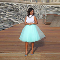 Mint Green Tutu Skirt A Line Knee Length Summer Style Layers Tulle Skirt With Lining Puffy Smooth Casual Skirts Women