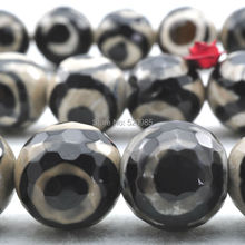 Wholesale Natural Stone Faceted Black Spot Tibetan Mystical Old Agata Eye stone Beads 6 8 10 12mm