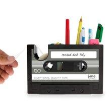 Creative Retro Cassette Tape Desktop Box For Office Desk Tidy Pencil Case Pen Dispense Storage Rack Holder