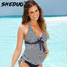Plus Size Badpak maternity Striped Beach Swimming Suit Pregnant Women Swimwear Two Piece Swimsuit Deep V Bathing Suit Bikini Set(China)
