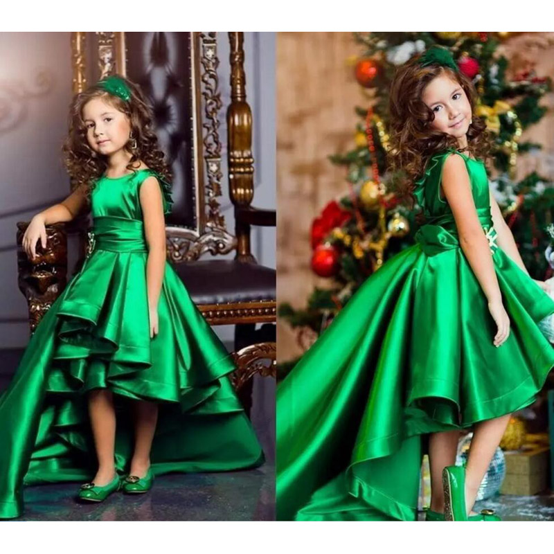 Green Taffeta O Neck Hi-Lo Girls Pageant Dresses Flower Girls Dresses For Wedding  Kids Party Dresses