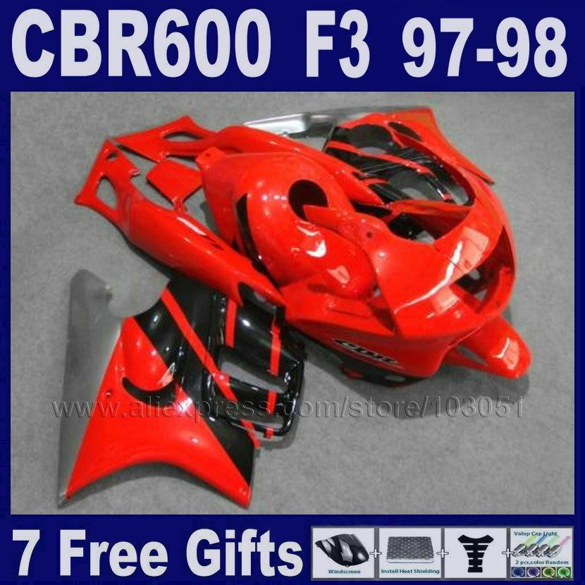 ABS Motorcycle factory fairings set for Honda 1998 CBR600 F3 1997 CBR 600 F3 97  98 red black bodywork fairing kit+Tank cover