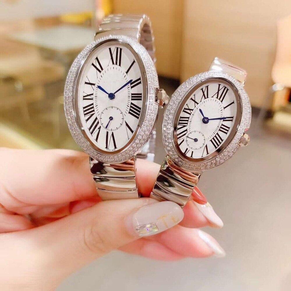 Große 40mm * 29mm/kleine 32*25mm schwarz/rot/weiß Oval zifferblatt zirkon stein Quarz Armbanduhr designer uhr für frauen oder männer-in Damenuhren aus Uhren bei  Gruppe 1