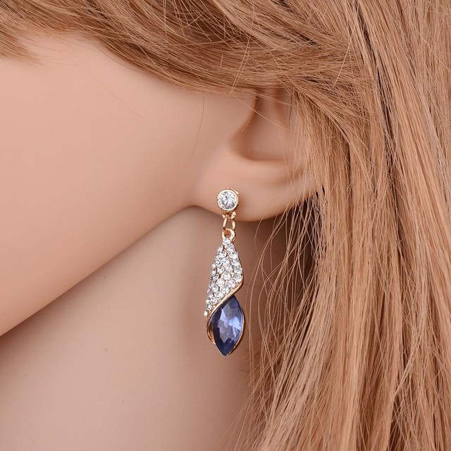 Fashion Brand Alloy Gold Colors Statement Austria Blue Crystal Long Earrings Rhinestone Water Drop Elegant Earring Jewelry 1