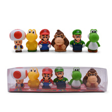 6 Styles/set Anime Figura Super Mario Bros Toad Donkey Kong Yoshi  Luigi PVC Action Figure Doll Boxed Collectible Model Baby Toy