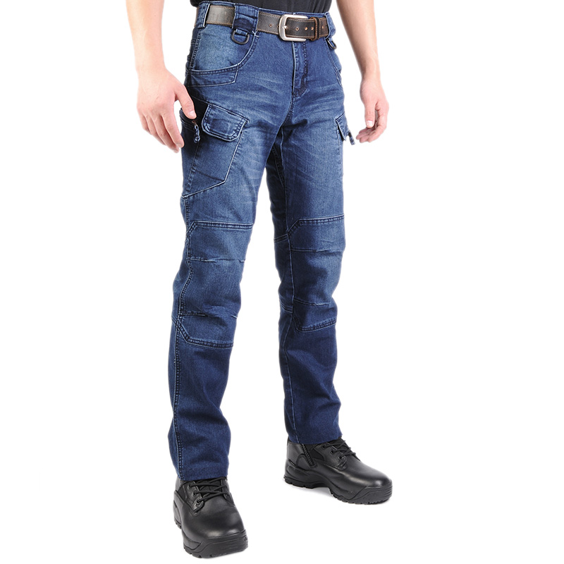 High Elastic IX7 SWAT Tactical Long Pants Jean Military Cargo Men Outdoor Training Climbing Stretch Straight Blue Denim Trouser ligao 2017 men s jeans denim jeans men male high elastic stretch long pants light blue thin slight slim comfortable pant