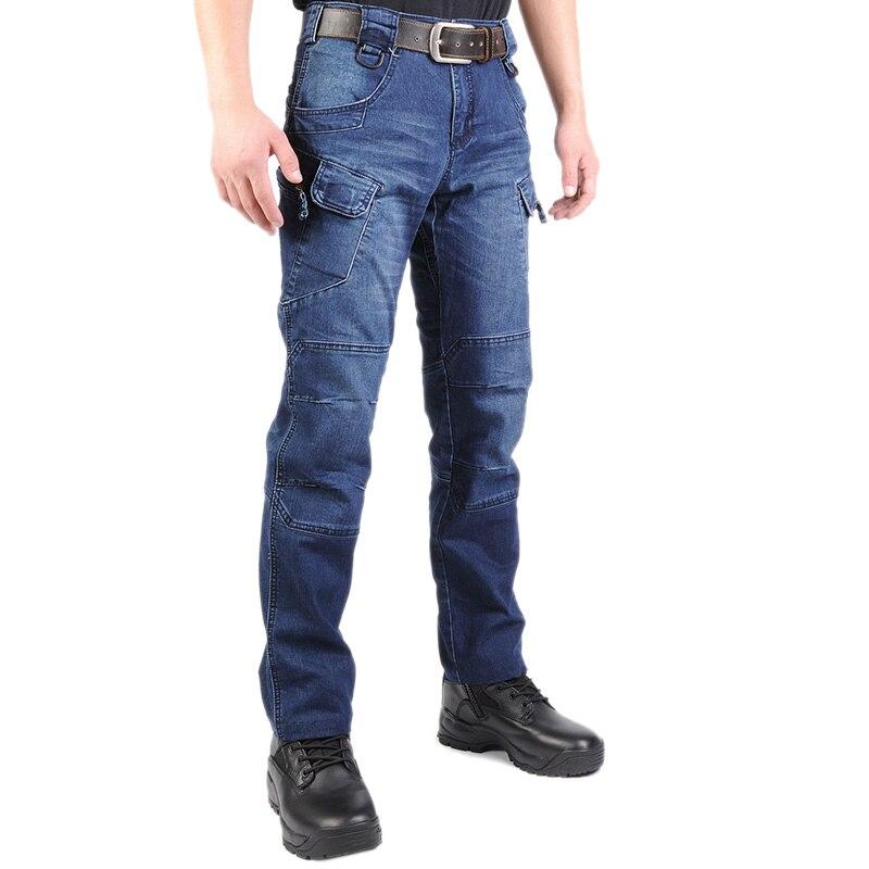 High Elastic IX7 SWAT Tactical Long Pants Jean Military Cargo Men Outdoor Training Climbing Stretch Straight Blue Denim Trouser